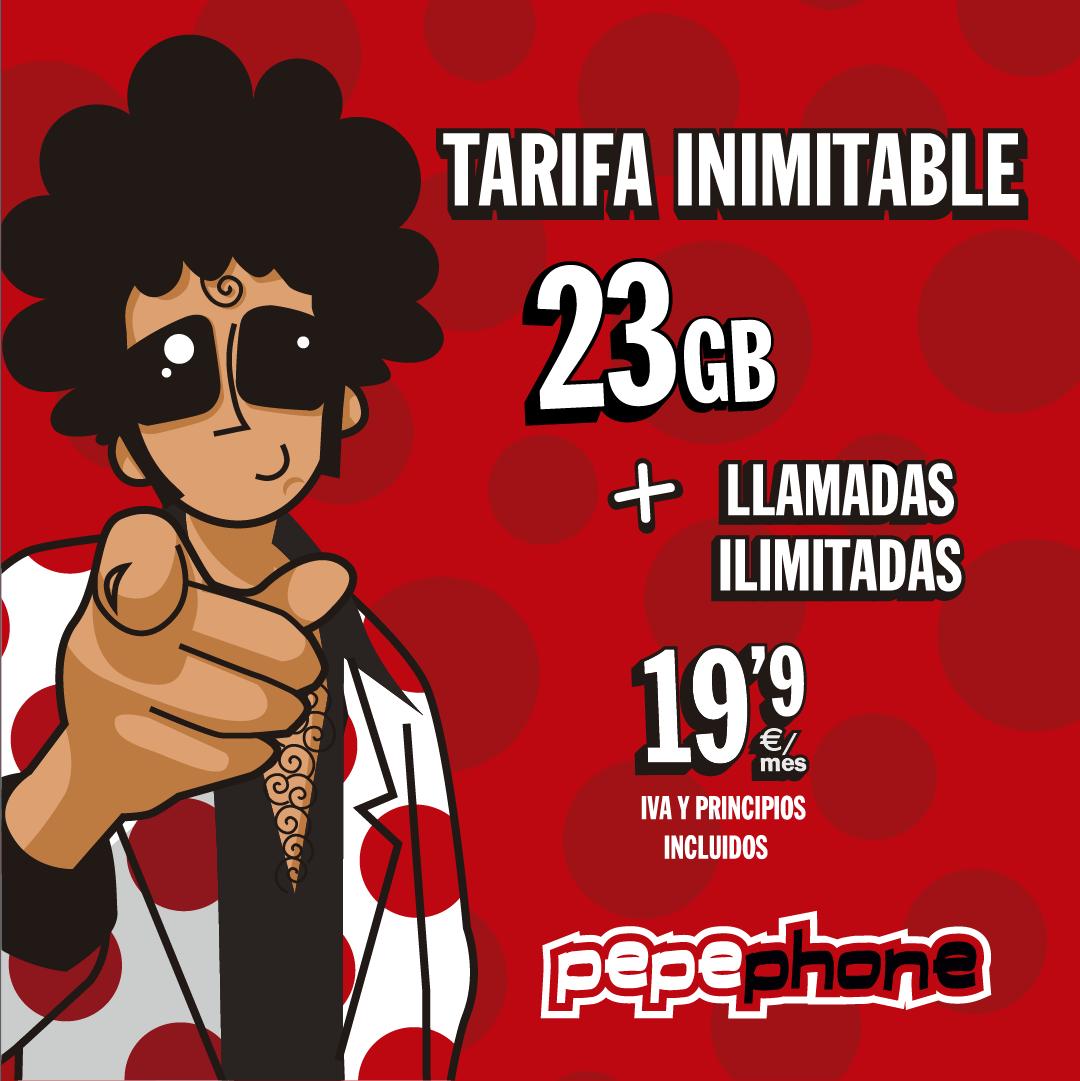 Pepephone piensa en nosotros y nos ofrece un paquete INIMITABLE, con paquetes ahorro para que tengas 23GB y llamadas ilimitadas a un precio IMBATIBLE.